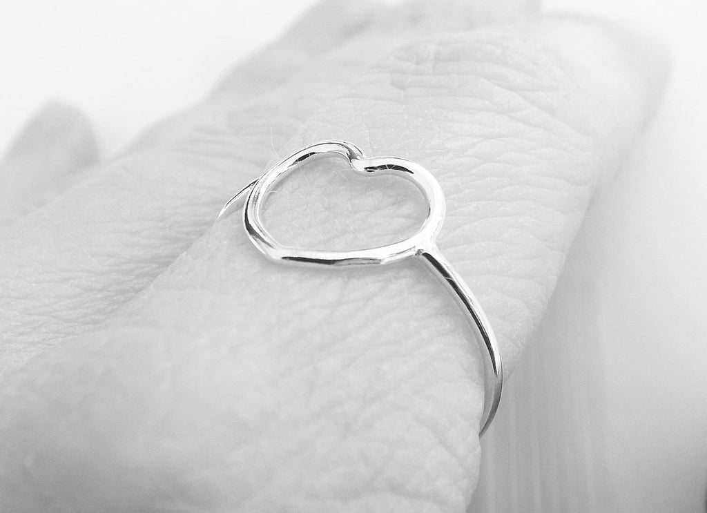 Simple Slim Silver Heart Ring, Heart Ring, Simple Heart, Slim Ring, Heart Jewelry, Heart, Open Heart Ring, Little Heart Ring, Love Ring,Gift