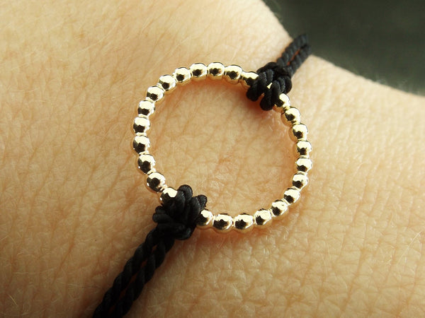 Minimalist Karma Bracelet, Circle Boho Chic Beaded Gold Karma Circle, Silk Tie On, Circle Jewelry, Tie On Leave On Bracelet, Silk, Gold