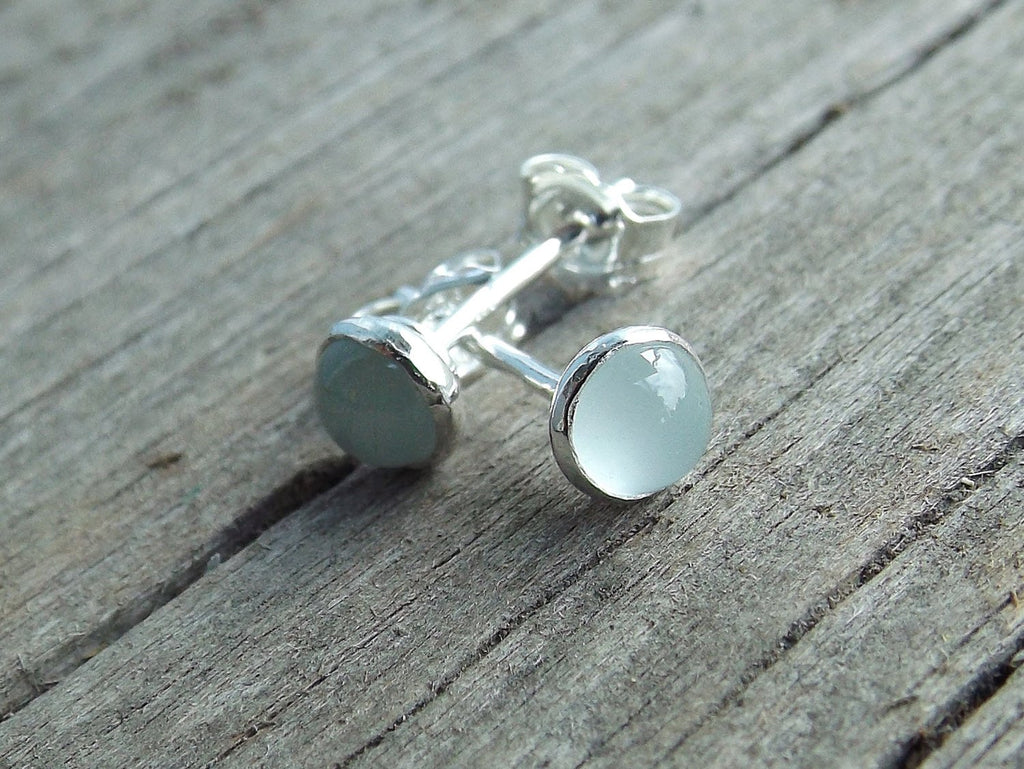Aquamarine Earrings, Gemstone Earrings, Sterling Earrings, Post Earrings, Pale Blue Post Earrings, Small Earrings, Minimalist Earrings, Gift