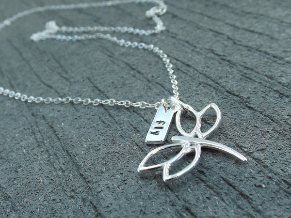 Dragonfly Necklace, Dragonfly Jewelry, Dragonfly Pendant, Fly Necklace, Sterling Silver Dragonfly Necklace, Dragonfly, Handstamped Jewelry