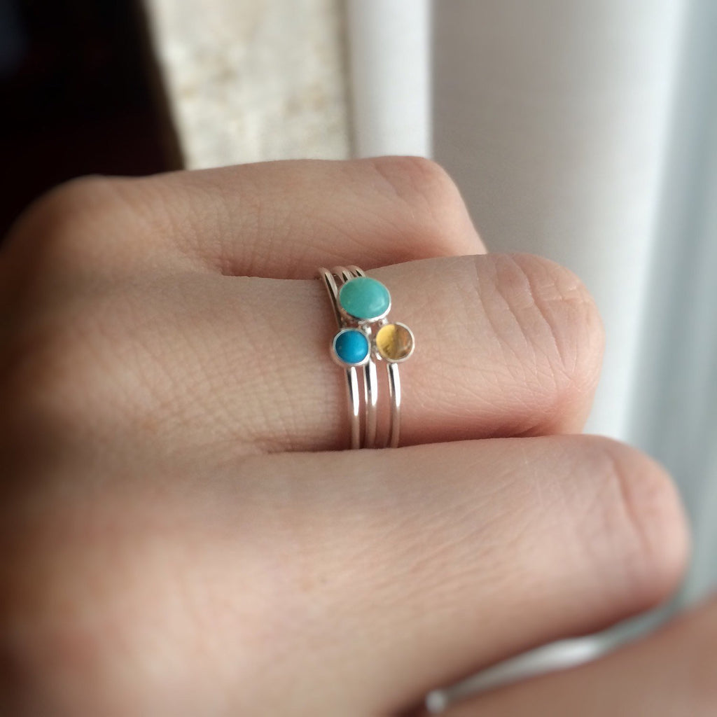 Turquoise Stacking Ring, Turquoise  Ring, Natural Gemstone Ring, Turquoise, Turquoise Jewelry, Gemstone Stacking Ring, Real Gemstone, Gift