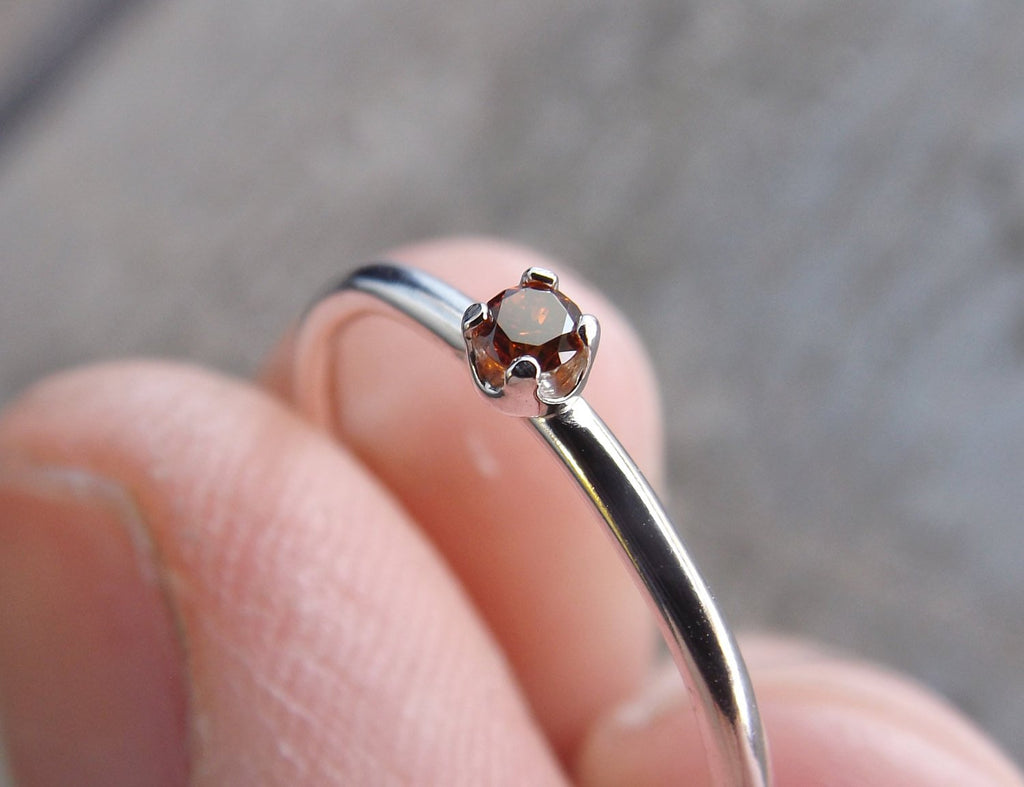 Red Diamond Ring, Genuine Diamond Ring, Red Diamond, Slim Ring, Minimalist Ring, Gift, Gemstone Ring, Tiny Diamond Ring, Diamond Ring