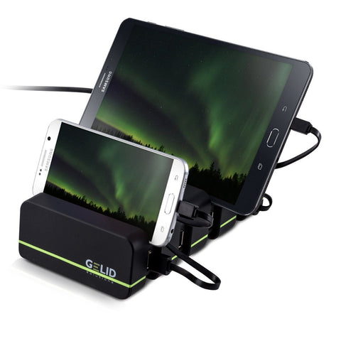 GELID SOLUTIONS FOURZA Fast Multiple Devices Charging Station | 4 Port 48W 2.4A Smart Charger + Universal Docking | For Smartphones & Tablets