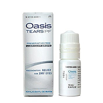Oasis TEARS PF (Preservative-Free) Lubricant Eye Drops Bottle (Made in France) ***Free Shipping Continental USA***