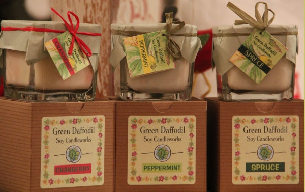green daffodil candles at FOUND