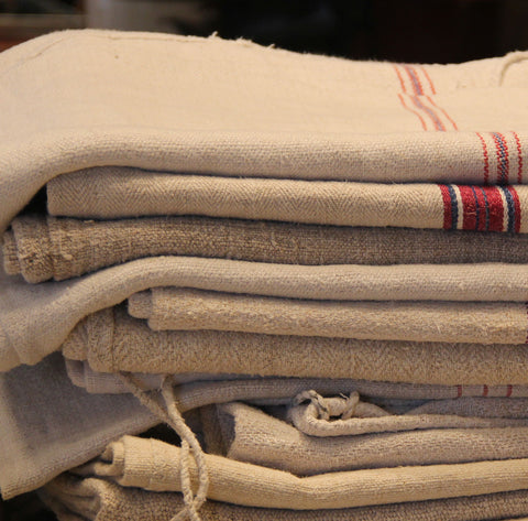 Euro-linen grain sacks at FOUND