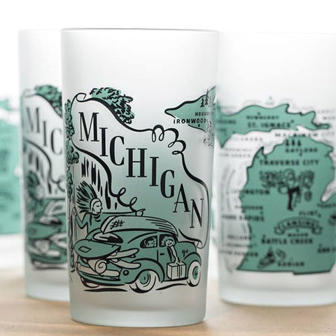 Retro Michigan Map Frosted Glass