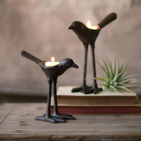 Cast Iron Bird Tealight Candle Holder - Set of 2