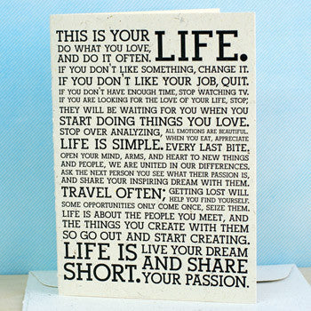 Recycled Paper Card - This is Your Life