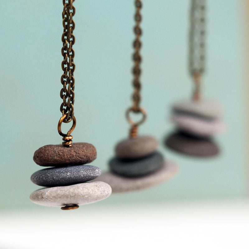 Stacked Rock Cairn Necklace