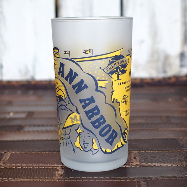 Retro Ann Arbor Map Frosted Glass