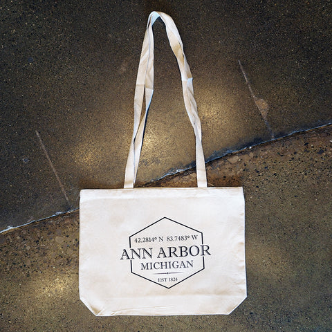 Ann Arbor Coordinates Canvas Tote Bag