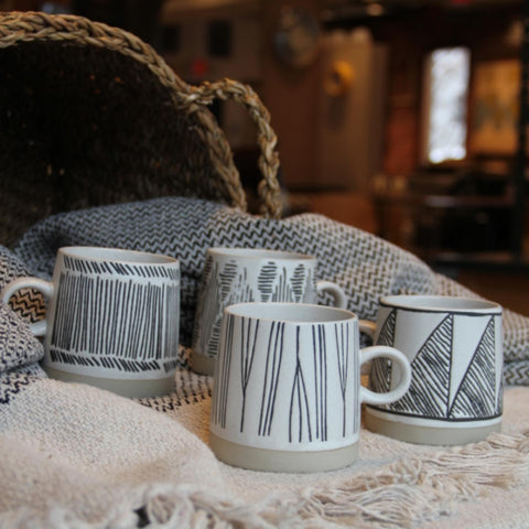 Embossed Stoneware Mug - Set of 4