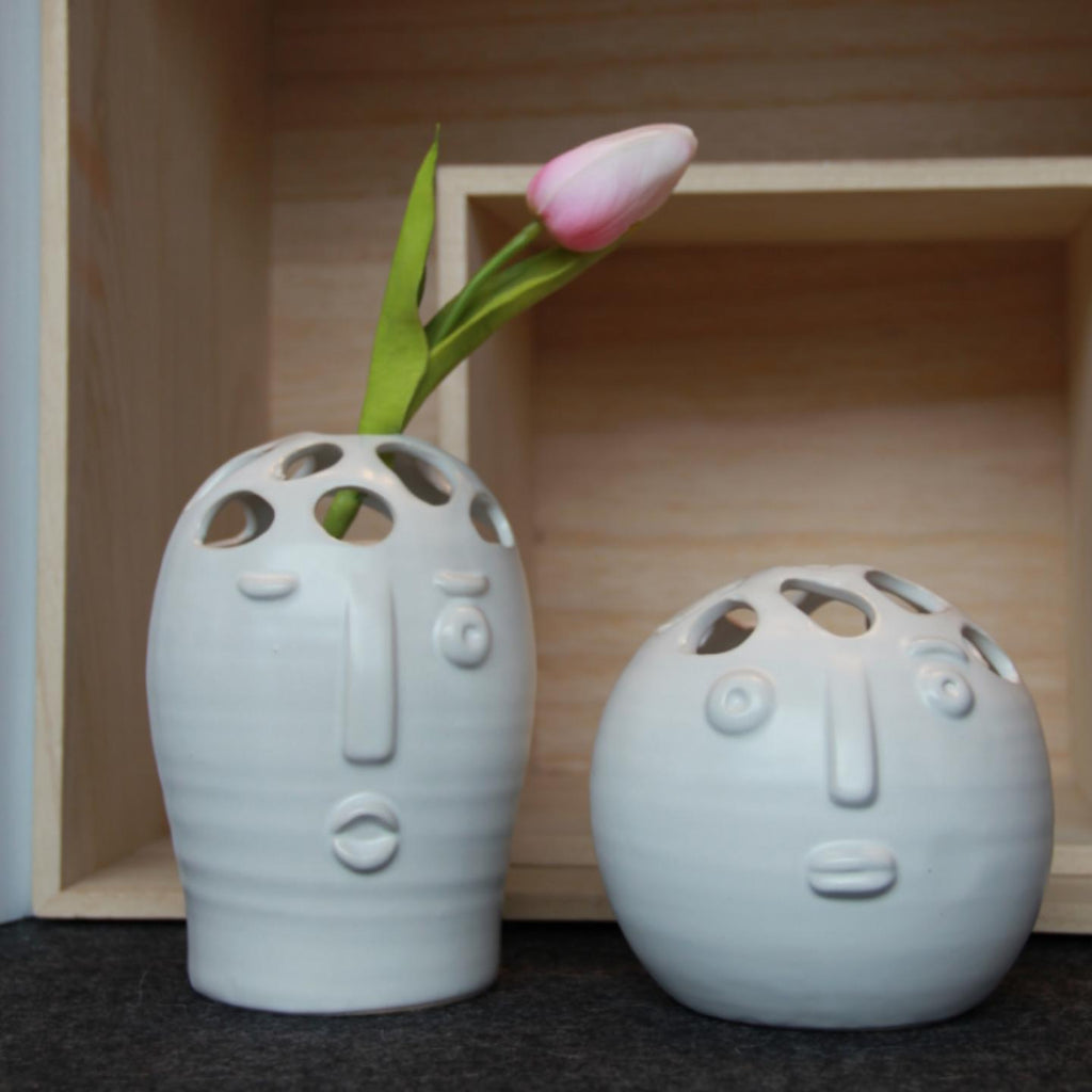 White Ceramic Face Vase - Set of 2