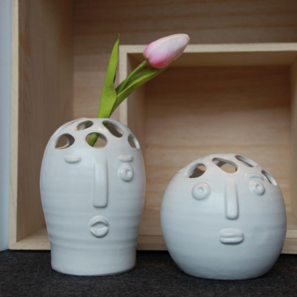 White Ceramic Face Vase