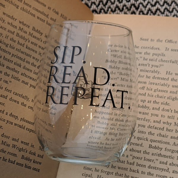 Sip. Read. Repeat. Wine Glass