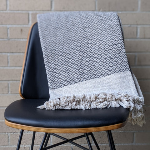Cotton Knit Throw With Fringe