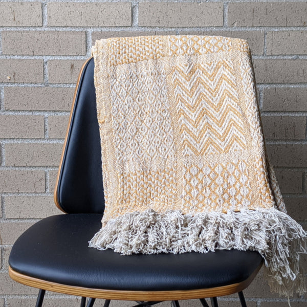 Mustard Cotton Knit Throw With Fringe