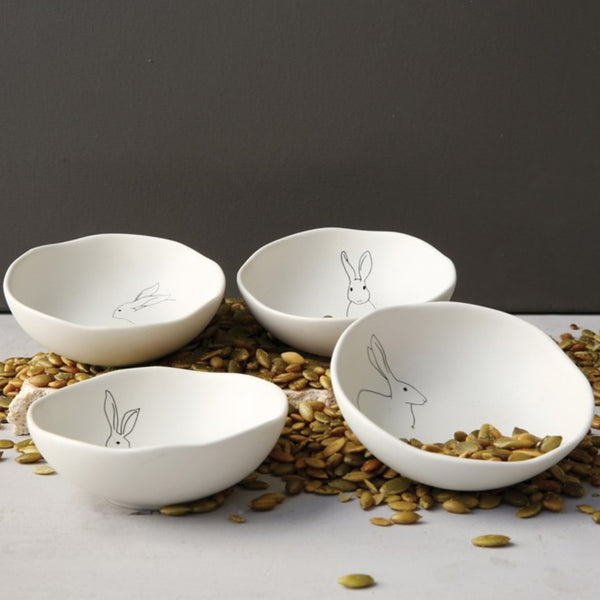 Rabbit Stoneware Bowls Set of Four