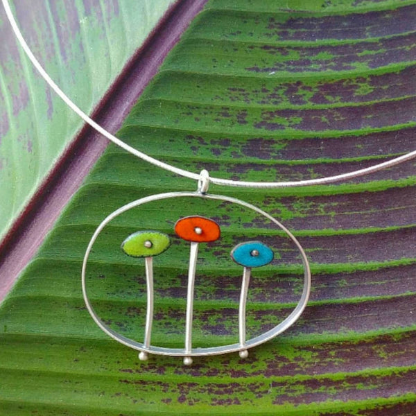 Sterling Silver and Enamel Flower Pendant