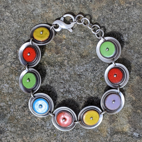 Sterling Silver and Enamel Bracelet