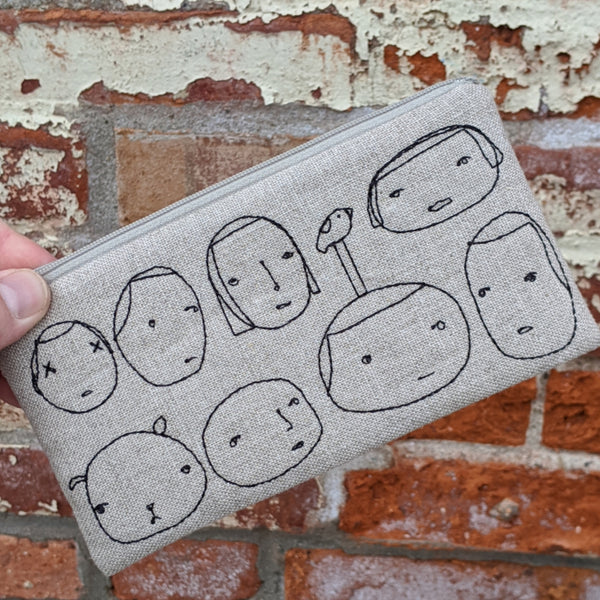 Stitched Cotton Pouch - Faces