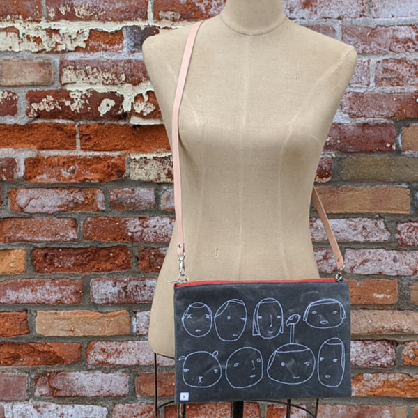 Waxed Canvas Faces Cross Body Bag