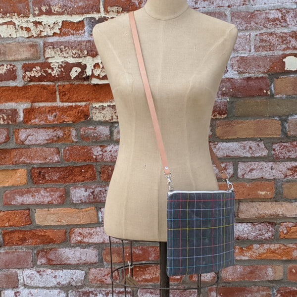 Waxed Canvas Grid Cross Body Bag