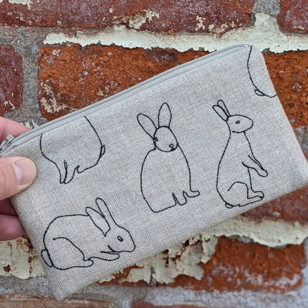 Stitched Cotton Pouch - Rabbits