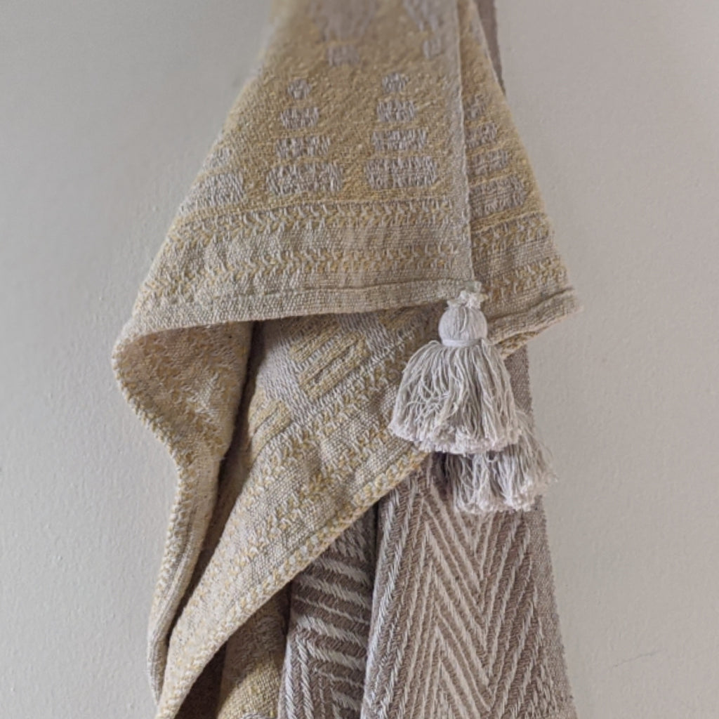 Mustard Patterned Knit Throw With Tassels