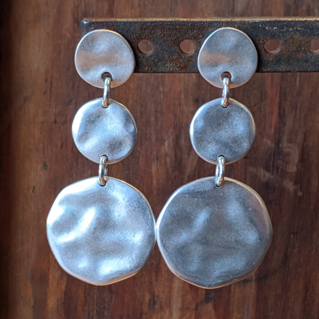 Hammered Triple Circle Earrings