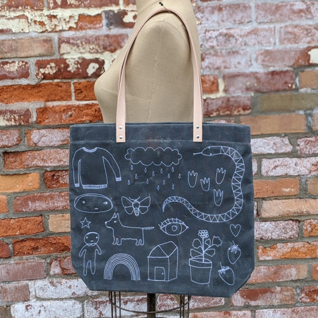 Waxed Canvas Tote - Memory Lane
