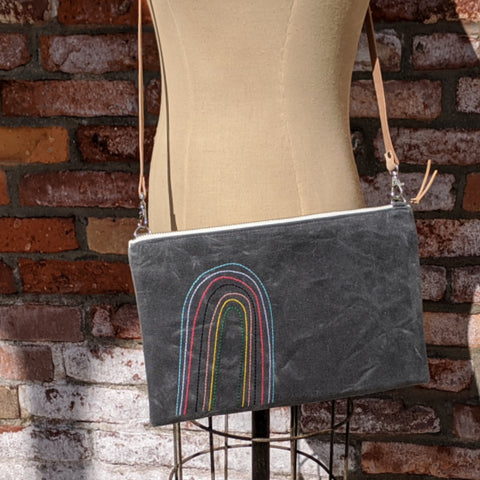 Waxed Canvas Rainbow Cross Body Bag