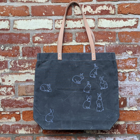 Waxed Canvas Tote - Bunnies