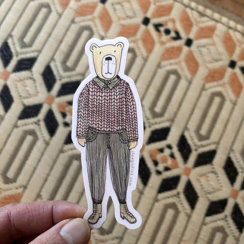 Unbearably Hip Bear sticker