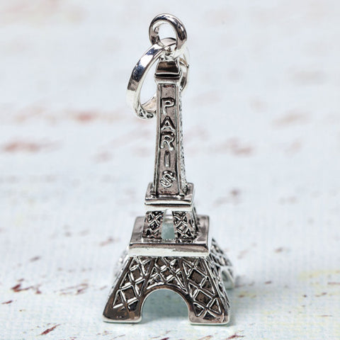 Silver Eiffel Tower Pendant (Chain Optional)