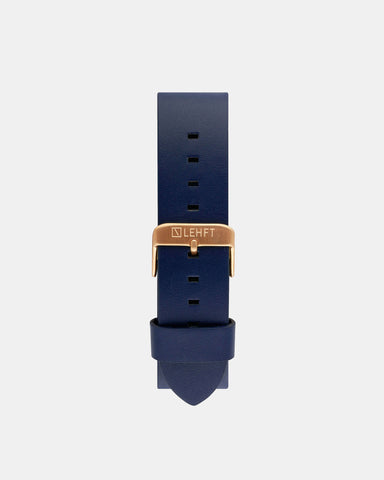 Midnight Blue Leather Strap / Rose Gold - LEHFT Minimalist Watches