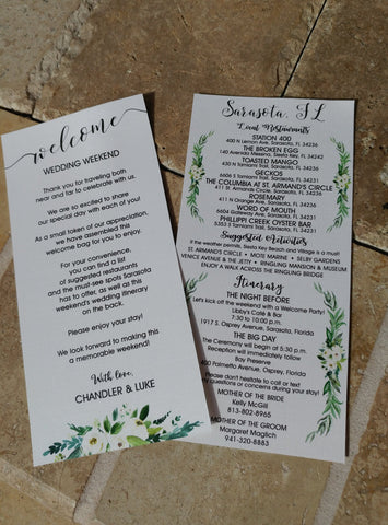 Custom Wedding Itinerary - Personalized Itinerary