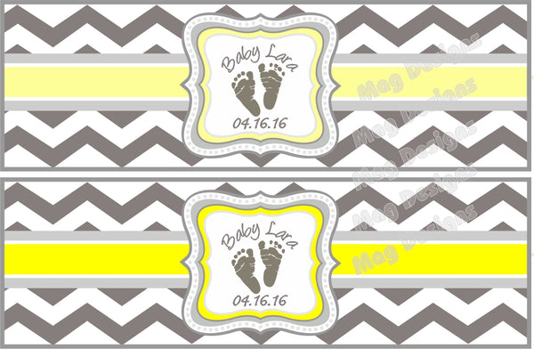 Gray and Yellow Baby Shower Cigar Bands - I Do Artsy Weddings