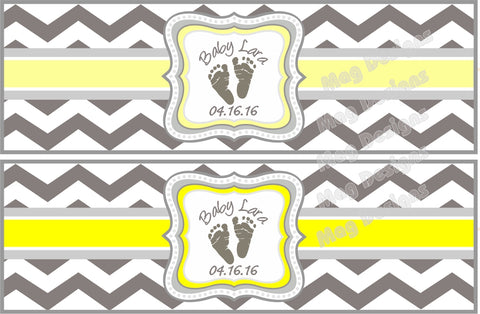 Gray and Yellow Baby Shower Cigar Bands