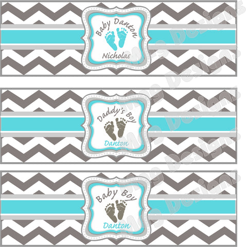 Gray and White New Baby Cigar Bands - I Do Artsy Weddings
