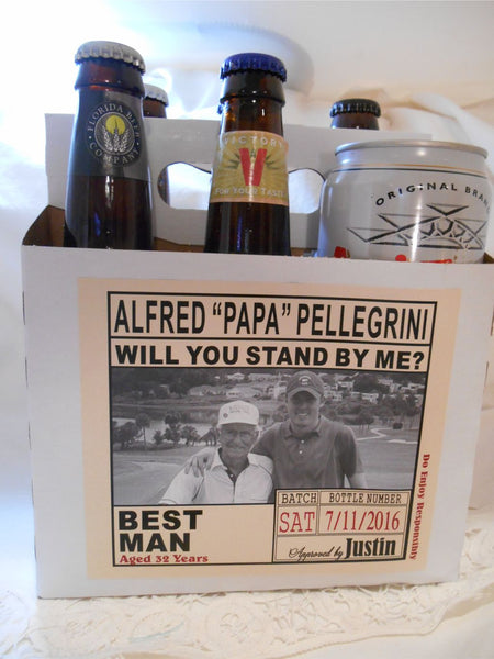 Photo Beer Carton and Label - Will you be my Groomsman,  Best Man