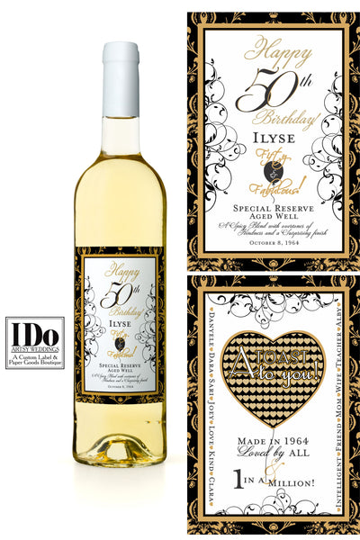 Rectangular Wine Labels with Gold and Black hearts, lacy scrolling with Birthday Balloons