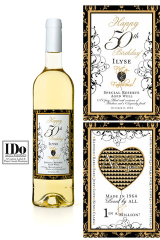 50th Birthday Bottle Wrap - Front and Back Labels - I Do Artsy Weddings