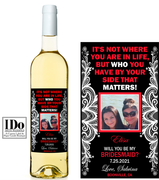 Bridesmaid Photo Wine Labels - Ask Your Girls