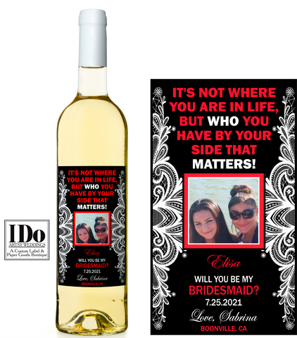 Bridesmaid Photo Wine Labels - Ask Your Girls - I Do Artsy Weddings
