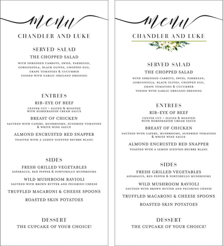 Wedding Menu - Customized for your Wedding or Event - 10 Menus min order