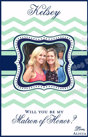 Bridesmaid Wine Labels - Maid of Honor Labels for Wine Bottles - Wedding Party Gifts - Chevron Collection - Mint and Navy - Customized