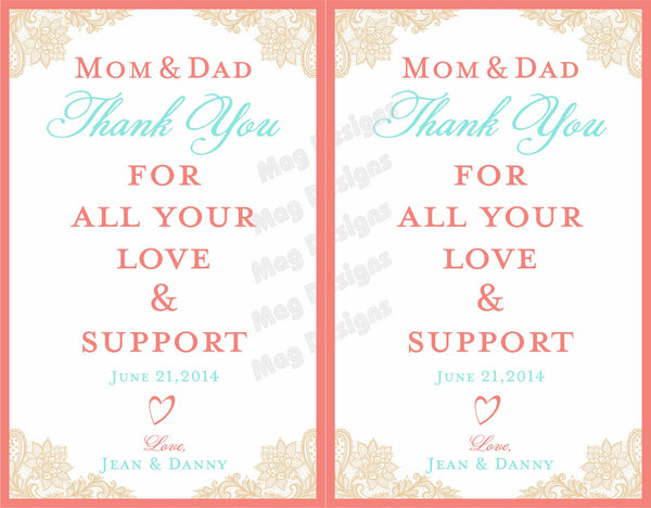 Mom and Dad Wine Labels - Thank You Labels for Wine Bottles - Wedding Party Gifts - Vintage Lace Collection - Customized