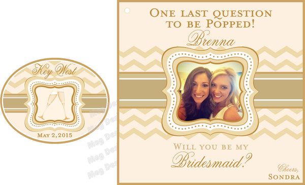 Will You Be My Bridesmaid Mini Wine Bottle Label with Collar Sticker